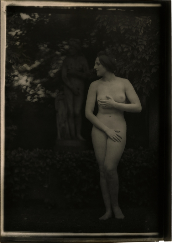 Arnold Genthe -the model as  the statue , late 1920