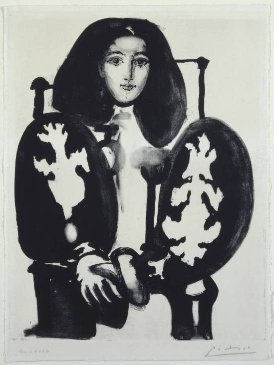 Pablo Picasso:-Woman in Armchair No. 1 (The Polish Cloak) 1949, lithograph
