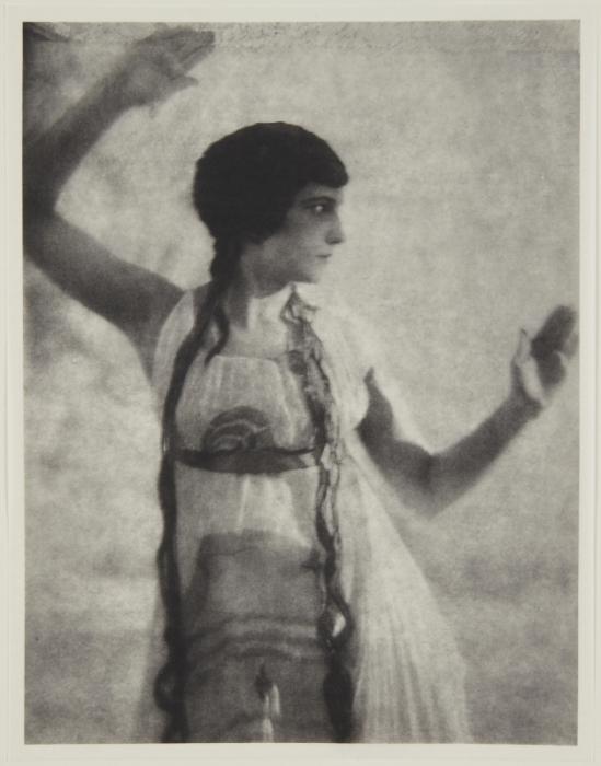 Adolf de Meyer-Maenad, 3-4 length, frontal, from Nijinsky,  L'Apres-midi d'un Faune, 1912 Palladium print