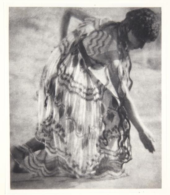 Adolf de Meyer-Maenad, profile to right, bending lower, from Nijinsky,  L'Apres-midi d'un Faune, 1912 Palladium print