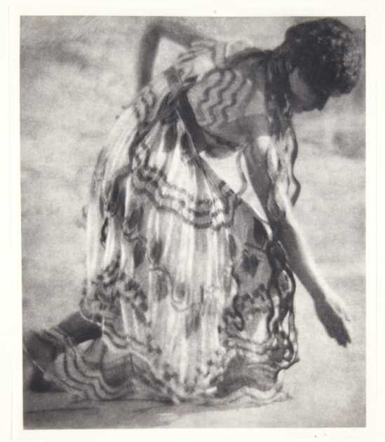 Adolf de Meyer-Maenad, profile to right, bending lower, from Nijinsky,  L'Apres-midi d'un Faune, 1912 Palladium print