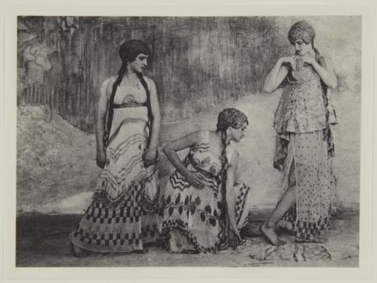 Adolf de Meyer-  Three maenads, from Nijinsky,  L'Apres-midi d'un Faune, 1912 Palladium print