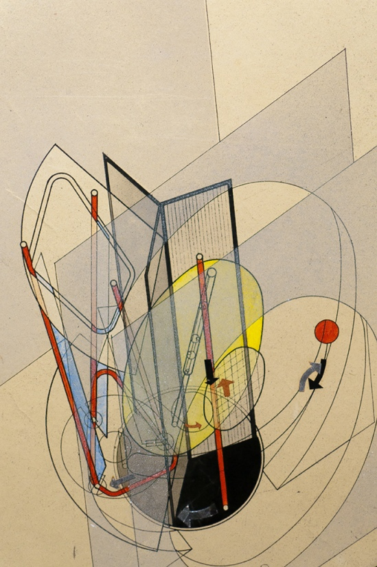László Moholy-Nagy – Light prop for an electric stage [detail], 1922-1929 (collage, ink and watercolour on paper) Gemeentemuseum Den Haag