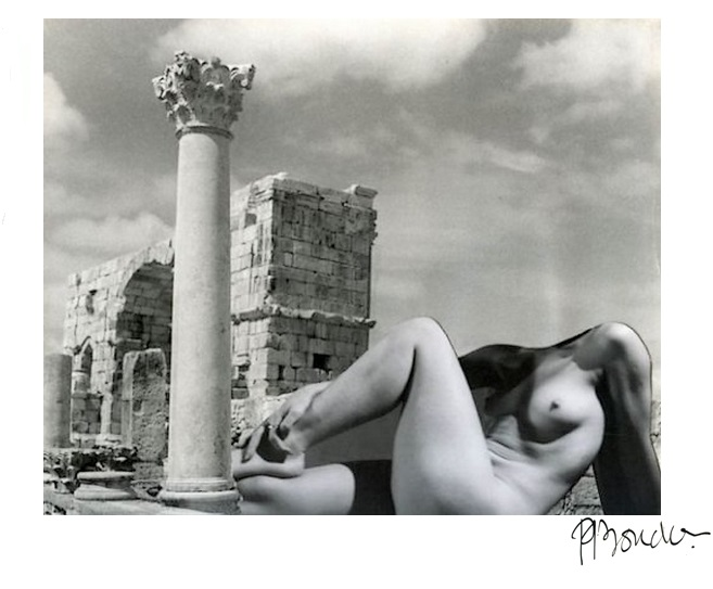 Pierre-Boucher-Antique nude, Volubilis ruins in Morocco,1936 from Les Fantasmagories du Nu# 6 , 1937