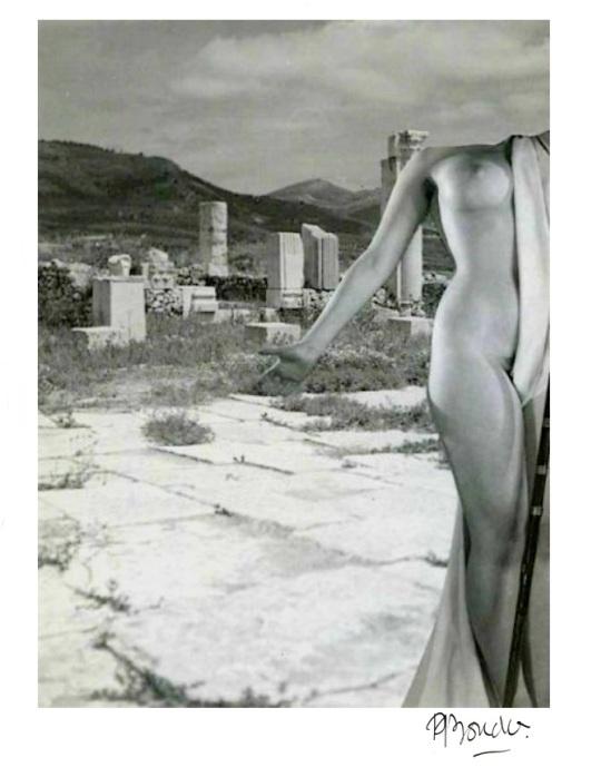 Pierre Boucher- Collage, Les ruines romaines de Volubilis du Maroc , 1936 from les fantasmagories du nu. #10 1937