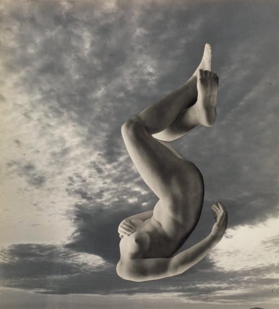 Pierre Boucher - La chute d'un corps, Photocollage, 1936.