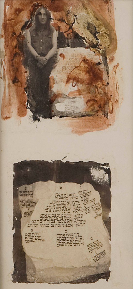 """Wallace Berman, """"Untitled"""" (two-ton rock, above and below), Verifax positive, with Polaroid transfer on magazine map."""
