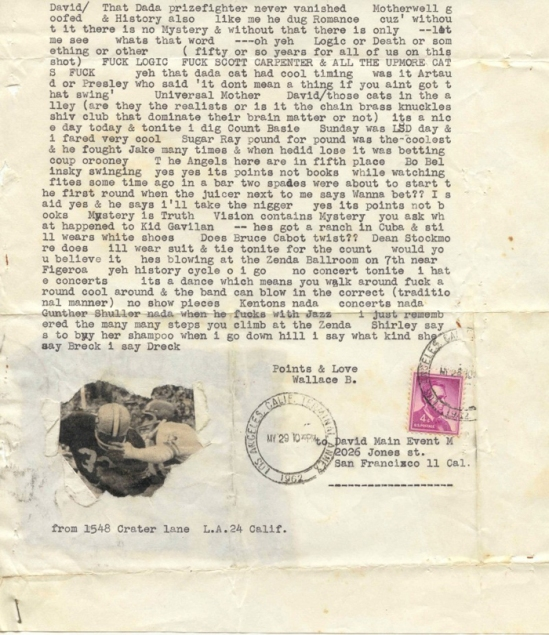 Wallace Berman, Letter to David Meltzer (football players), 1962. Typed letter with photographic collage,
