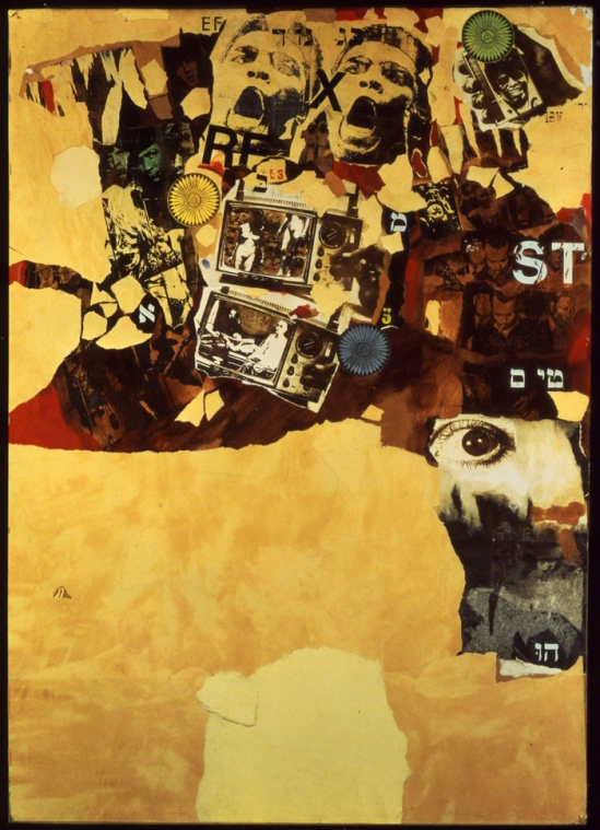 Wallace Berman, Papa's Got a Brand New Bag, 1964. Mixed-media collage Collection of David Yorkin and Alix Madigan, Los Angeles. Courtesy the estate of Wallace Berman and Michael Kohn Gallery, Los Angeles.
