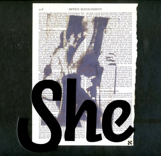 Wallace Berman She, c. 1964 verifax on book page with lettraset