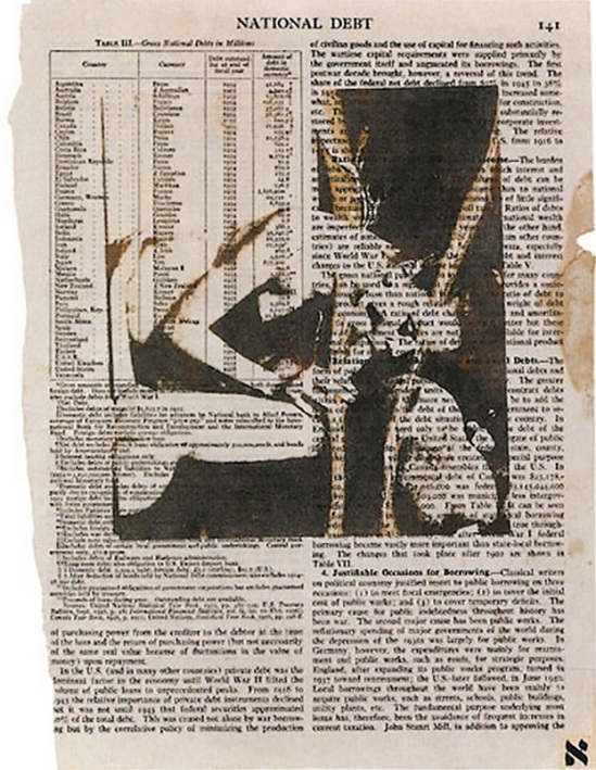 Wallace Berman Untitled (National Debt), c. 1964 verifax on book page with lettraset