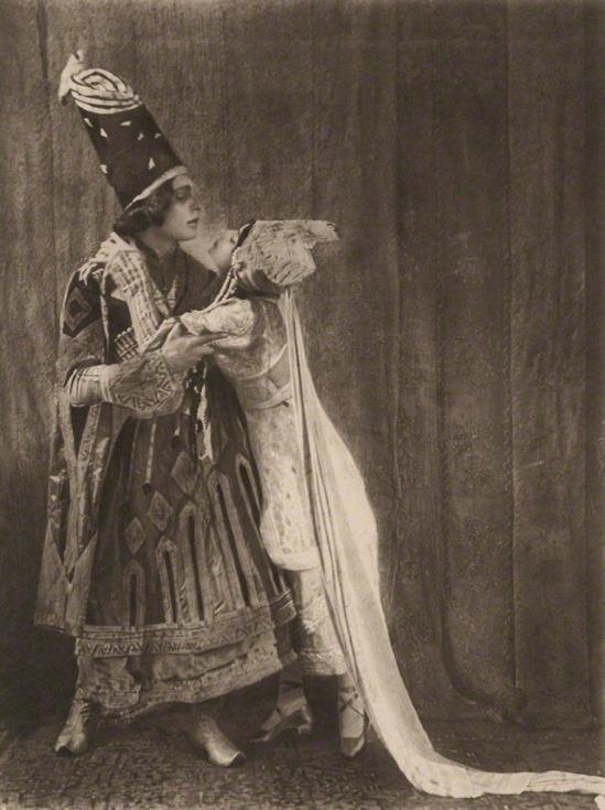 E. O. Hoppé - Malvina Adolph Bolm as the Prince and Tamara Karsavina as Queen Thamar in Thamara, 1912 photogravure