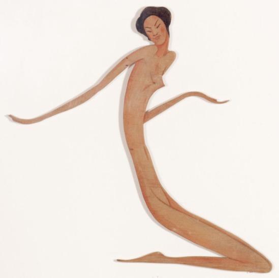 František Drtikol -Untitled (Kneeling Nude) , nd