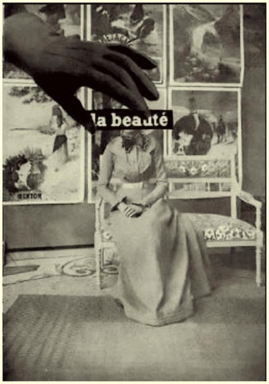 """Collage d'André Breton et de Paul Eluard pour """" Le Tombeau des Secrets """" de René Char en 1930René Char - Le Tombeau des Secrets, 1930 Photomontage de Paul Eluard et André Breton sur une Photographie représentant Louse Rose, la marraine de René Char"""