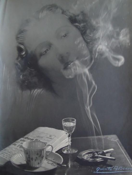 Quinto Albicocco - portrait aux cigarettes double exposure,1930s