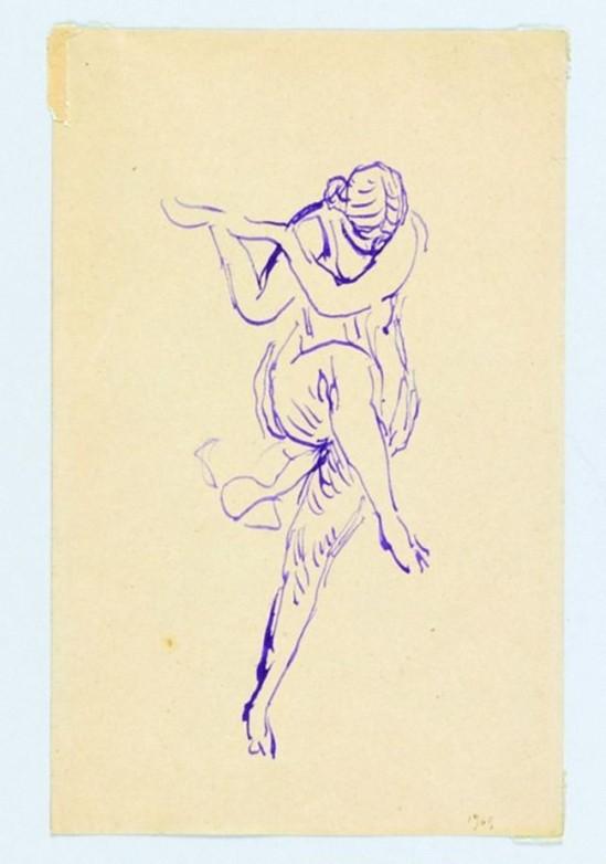 Antoine Bourdelle (1861-1929) Isadora, 1909, Plume et encre violette sur papier vélin_e