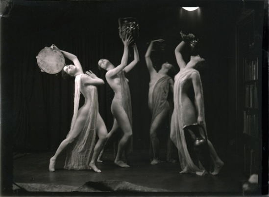 Arnold Genthe -four nude dancers in a Grecian tableau from the troupe of Marion Morgan Dancers, March 1922