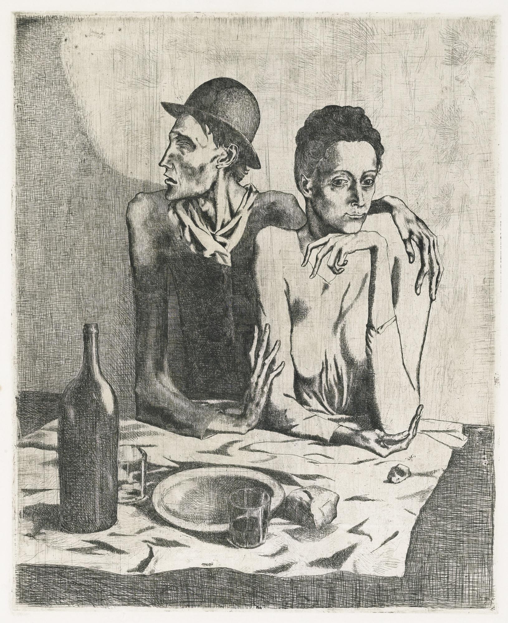 Pablo Picasso - Le repas frugal , Planche la suite des saltimbanques, 14 encres ans dessins au crayons de 1906-05 , ed° Ambroise Vollard, Paris, 1923