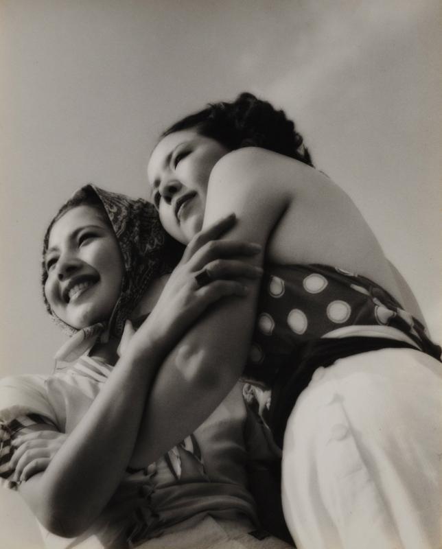 Yasuzo Nozima-Sans titre deux jeunes femmes aux chapeaux , 1938