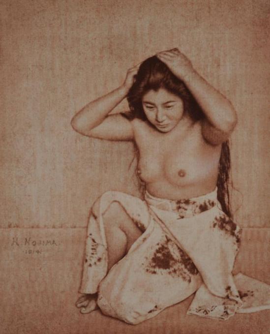 Yasuzo Nozima- Woman Combing Her Hair, 1914