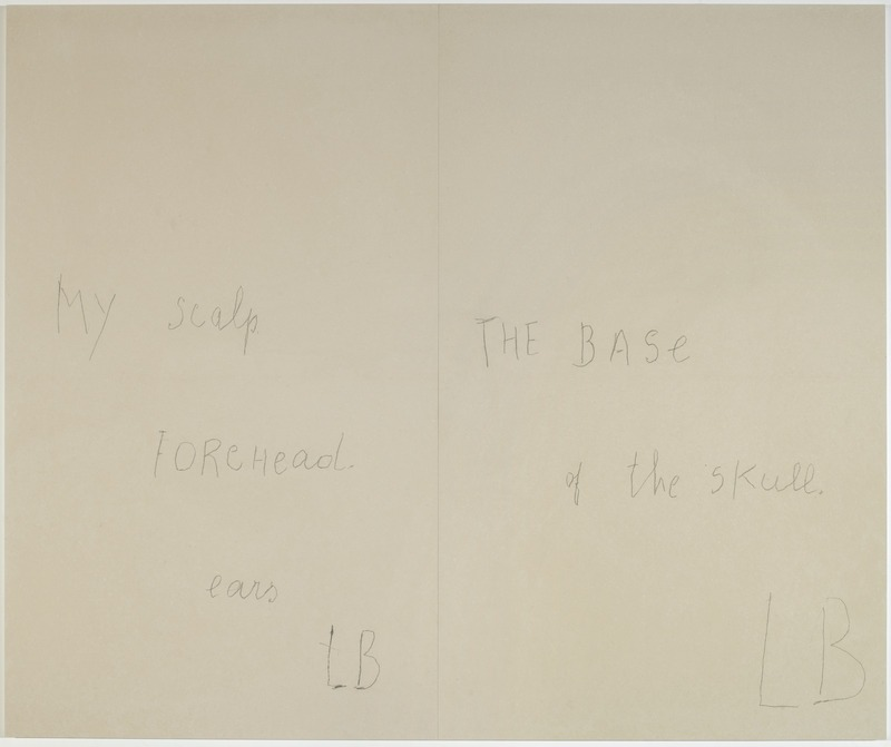 Louise Bourgeois -« My scalp » – « ears » – « The base of the skull » (panneau 2) ; Mine graphite sur papier et estampes rehaussées à l'aquarelle, 2007