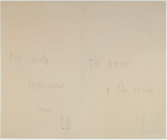 Louise Bourgeois -« My scalp » – « ears » – « The base of the skull » (panneau 2) ; Mine graphite sur papier et estampes rehaussées à l'aquarelle, 2007