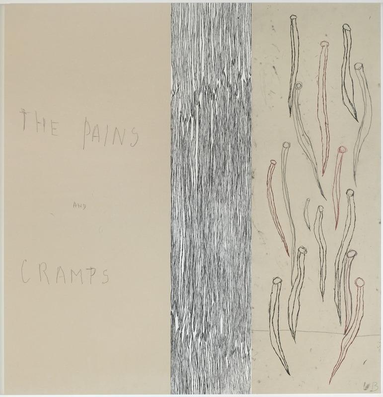 Louise Bourgeois -« The pains and cramps » panneau 8 ; Mine graphite sur papier et estampes rehaussées à l'aquarelle, 2007
