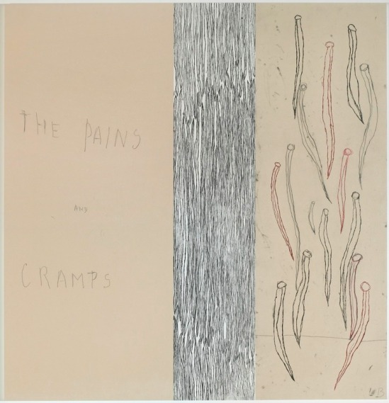 Louise Bourgeois -« The pains and cramps » panneau 8 ; Mine graphite sur papier et estampes rehaussées à l'aquarelle, 2007