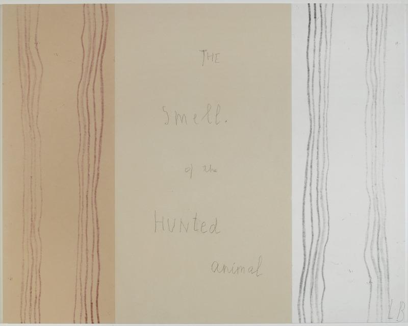 Louise Bourgeois extreme tension The smell of the Hunted animal Panneau11, Mine graphite sur papier et estampes rehaussées à l'encre, 2007