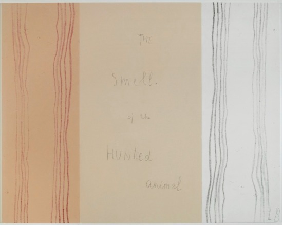 Louise Bourgeois extreme tension The smell of the Hunted animal Panneau11, Mine graphite sur papier et estampes rehaussées à l'encre, 2007
