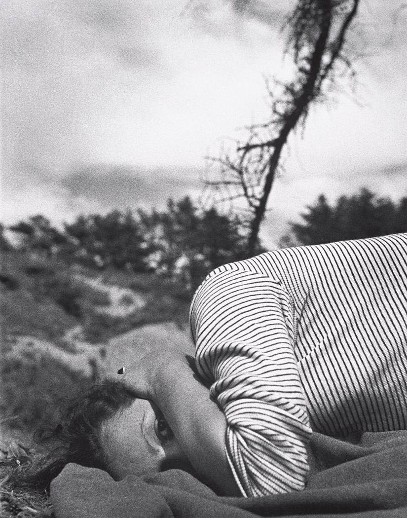 John Gutmann-Striped Sweater on Blanket, Oregon, 1934