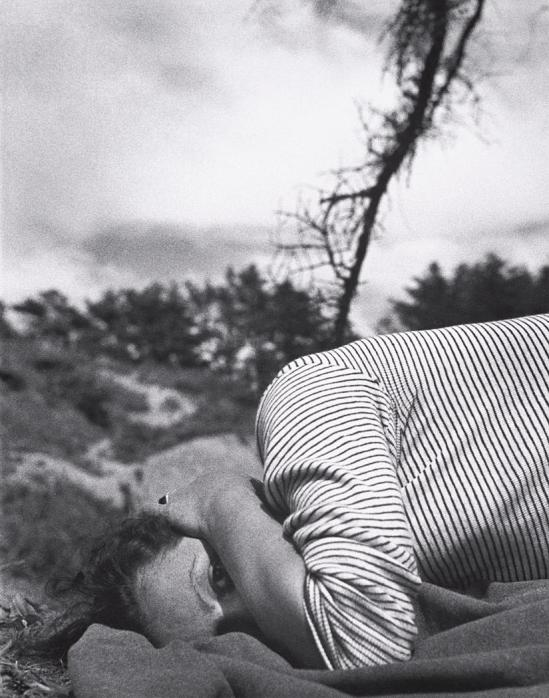 John Gutmann-Striped Sweater on Blanket, Oregon, 1934