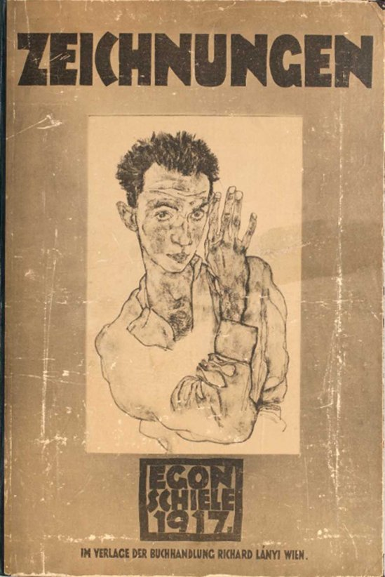 Egon Schiele -Cover ( autoportrait) From the portfolio Zeichnungen (drawings), incluing 12 Heliotypes, Ed° Librairie Richard Lanyi,Vienne, 1917.