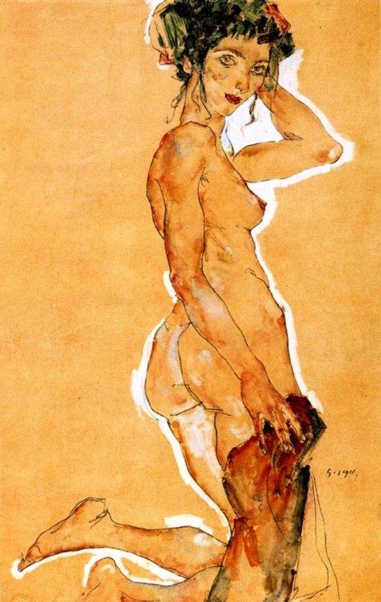 Egon Schiele- Kneeling nude, 1911