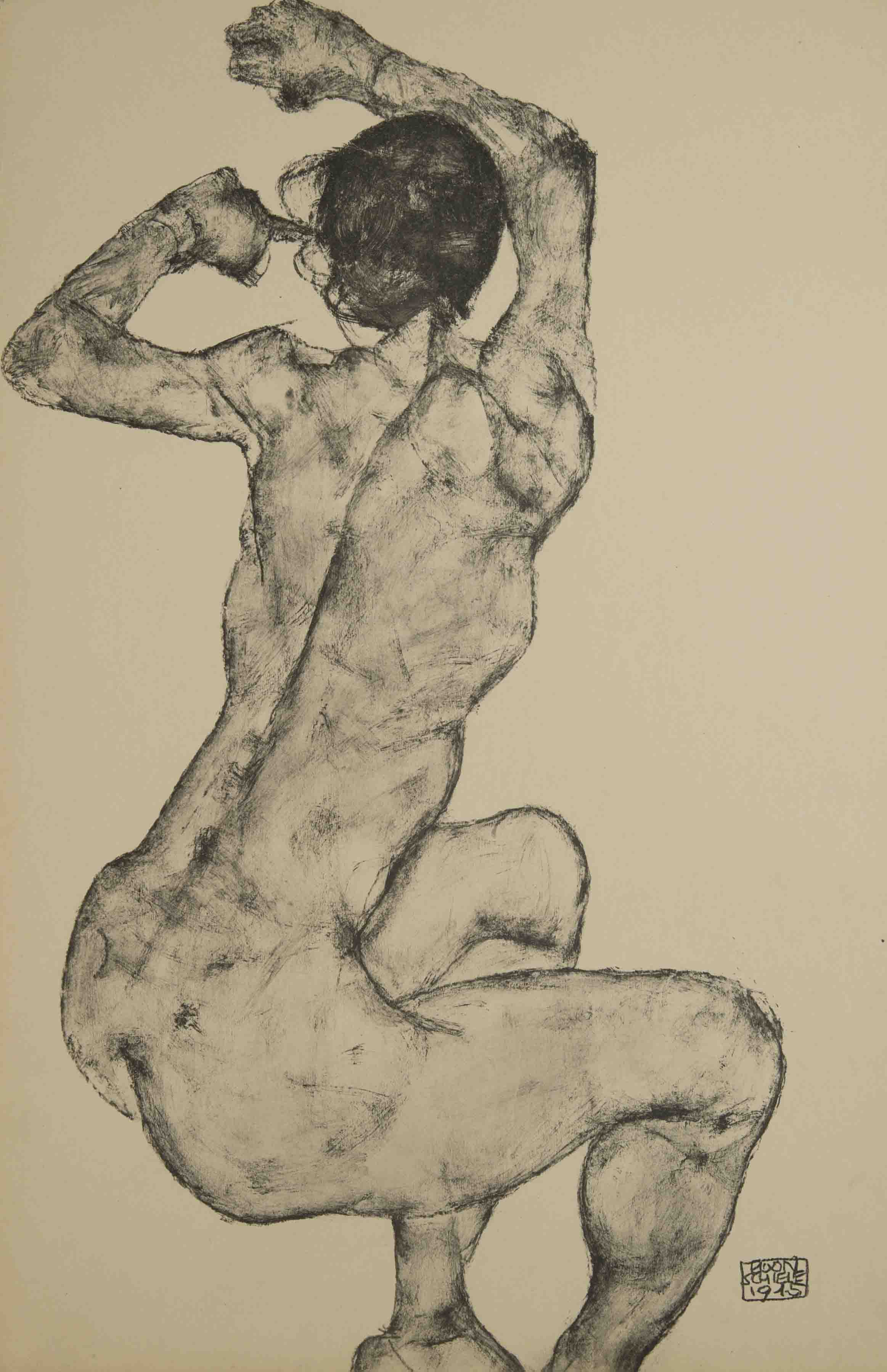 Egon Schiele - nude, From the portfolio Zeichnungen (drawings),1915 incluing 12 Heliotypes, Ed° Librairie Richard Lanyi,Vienne, 1917.