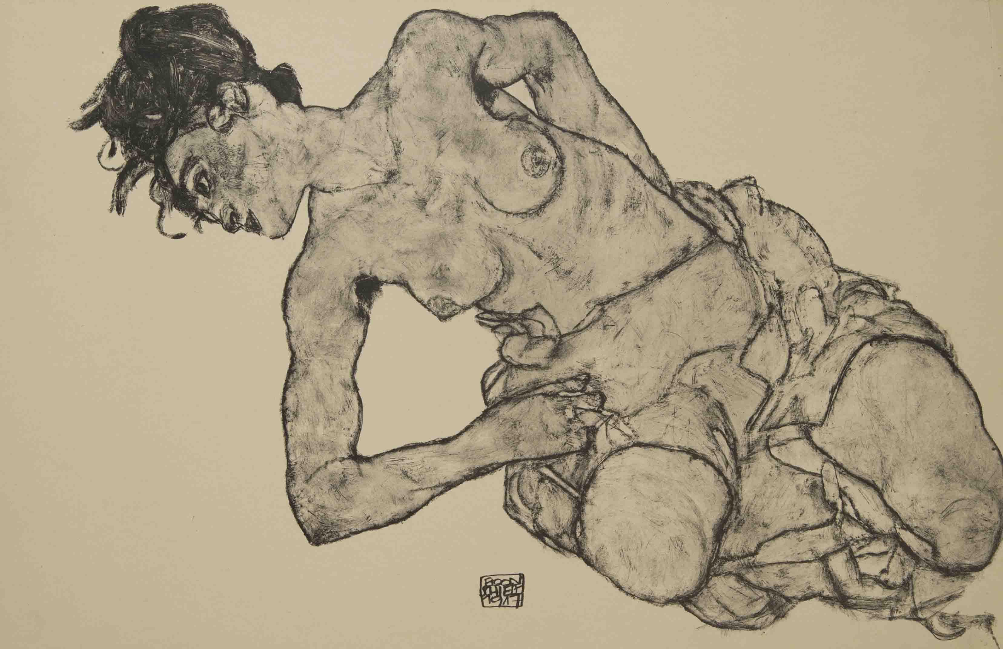 Egon Schiele - Nude, From the portfolio Zeichnungen (drawings),1917 incluing 12 Heliotypes, Ed° Librairie Richard Lanyi,Vienne, 1917.