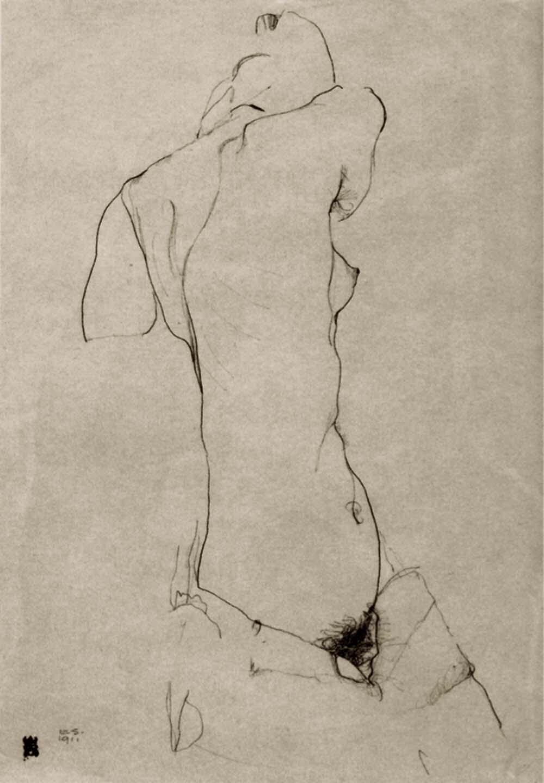 Egon Schiele-Nude turned three quarters, 1911