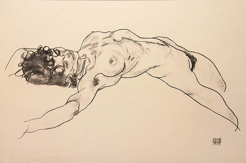 Egon Schiele-Reclining Female Nude, 1918.