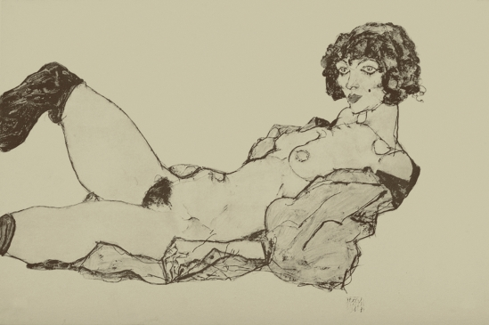 Egon Schiele -Reclining nude, From the portfolio Zeichnungen (drawings),1914 incluing 12 Heliotypes, Ed° Librairie Richard Lanyi,Vienne, 1917.