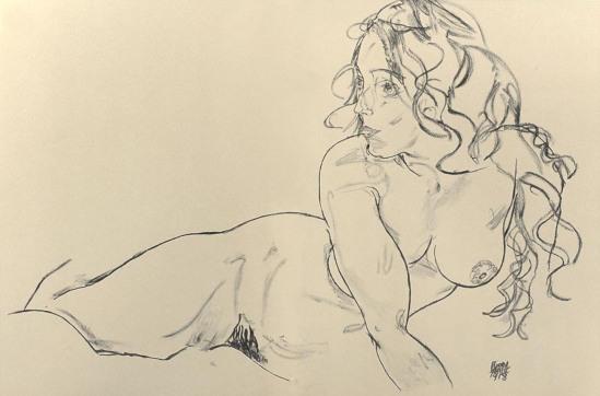 Egon Schiele-Reclining nude with raised Torso, 1918.