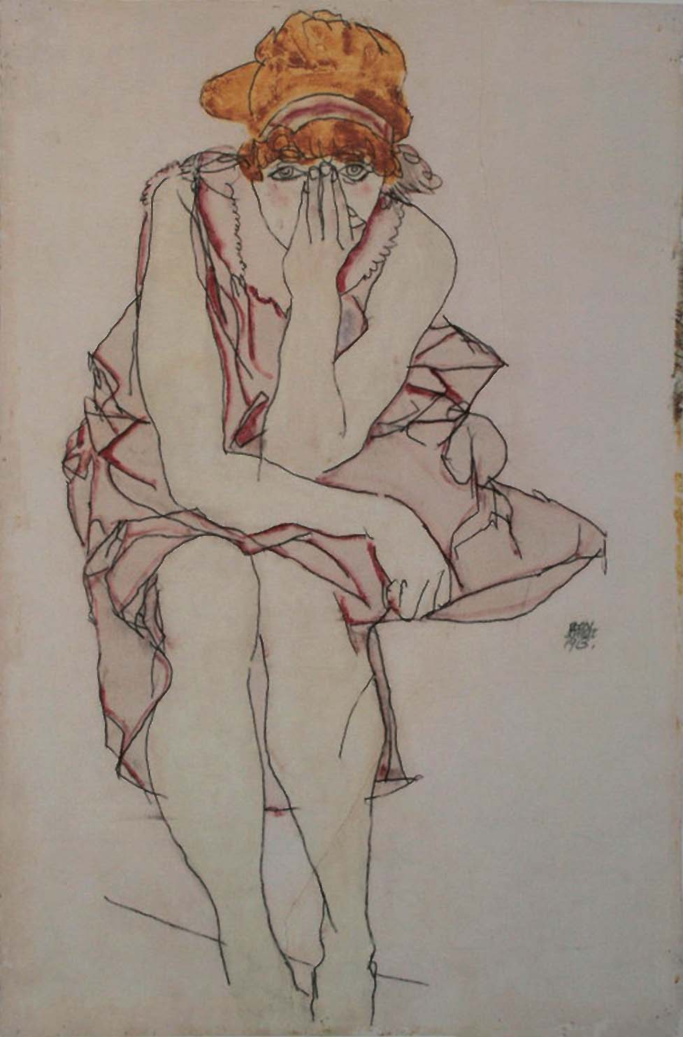 Egon Schiele- Seated young lady, 1913
