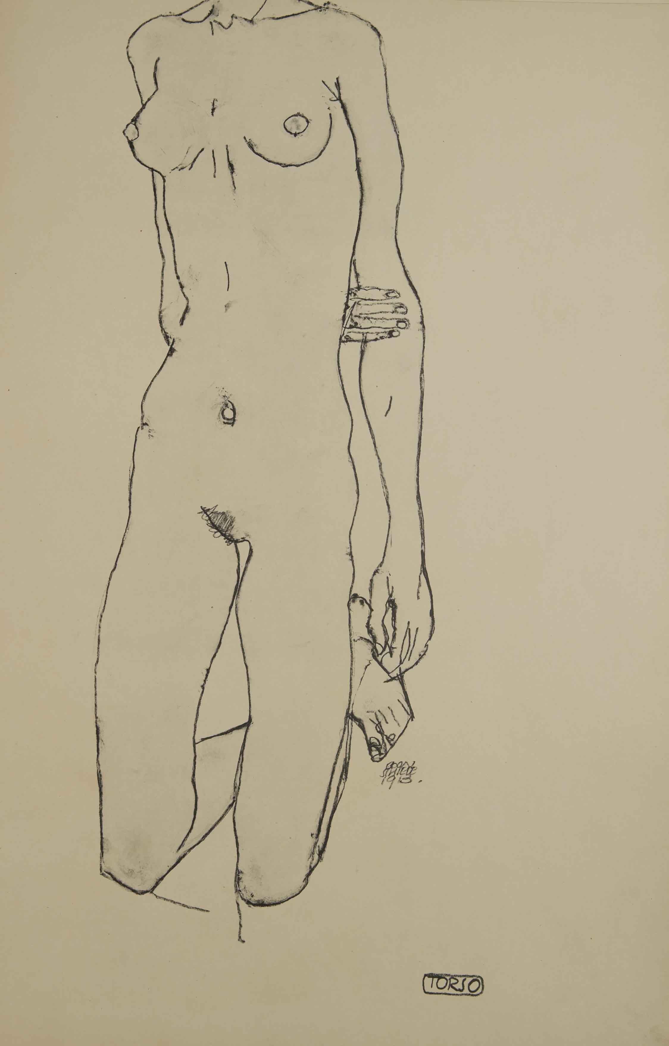 Egon Schiele -Torso, From the portfolio Zeichnungen (drawings),191 incluing 12 Heliotypes, Ed° Librairie Richard Lanyi,Vienne, 1917.