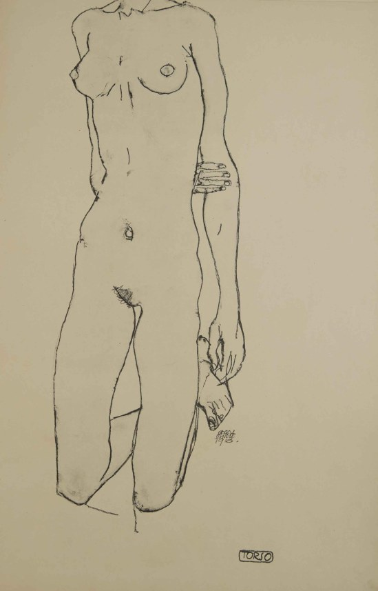 Egon Schiele -Torso, From the portfolio Zeichnungen (drawings),191 incluing 12 Heliotypes, Ed° Librairie Richard Lanyi,Vienne, 1917.