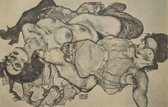 Egon Schiele -Two nudes, From the portfolio Zeichnungen (drawings),1915 incluing 12 Heliotypes, Ed° Librairie Richard Lanyi,Vienne, 1917.