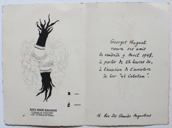 Georges Hugnet CARTON D'INVITATION pour L'OUVERTURE DU BAR LE CATALAN, 16 rue des Grands Augustins le 9 avril 1948.