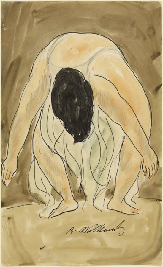 Abraham Walkowitz- Isadora Duncan, Leaning Over Watercolor and pen and black ink over graphite on cream wove paper , Nd