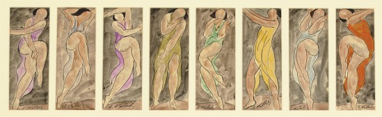 Abraham Walkowitz- Isadora Duncan Eight Watercolors each, watercolor, ink and pencil on paper