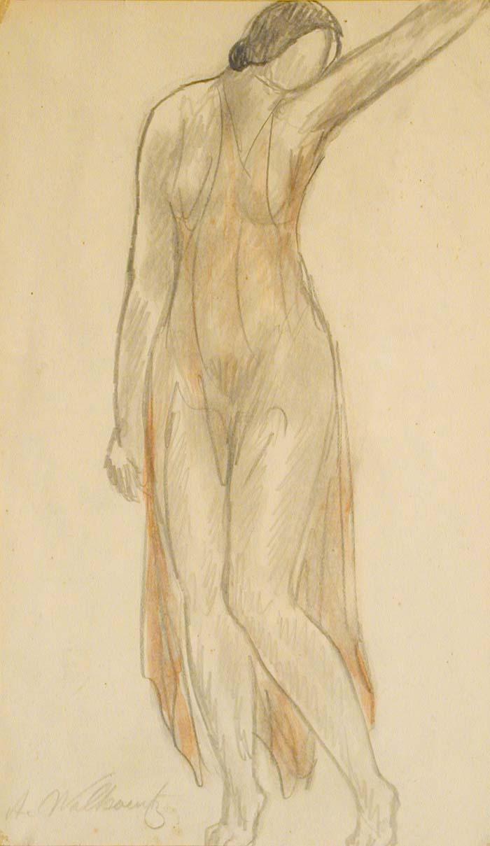Abraham Walkowitz- Isadora Duncan, Isadora Duncan Dancing, ink and watercolor on paper