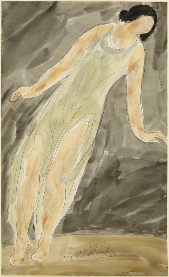 Abraham Walkowitz- Isadora Duncan, Leaning Right Watercolor and pen and black ink over graphite on off-white wove paper