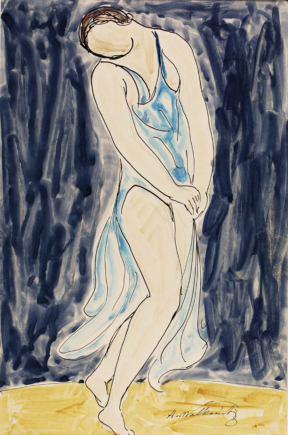 Abraham Walkowitz, Isadora Duncan , Nd pen and ink, watercolor and pencil on paper © American Art Museum,